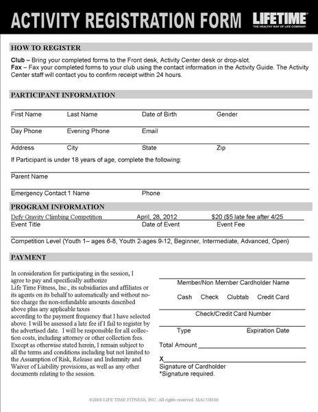 Rock Climbing Photo: registration form