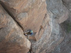 Rock Climbing Photo: Ian climbing the wide crack on pitch 2.