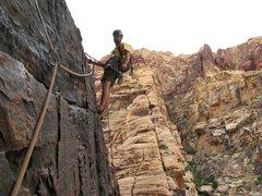 Rock Climbing Photo: On Dark Shadows- Pine Creek, Red Rock.  2/24/12
