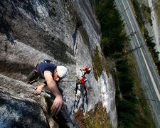 Rock Climbing Photo: the crux of Rambles (5.8) on p4. Short and steep. ...