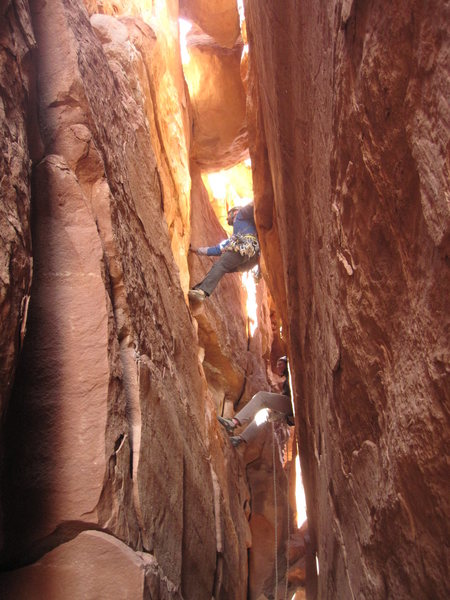 Rock Climbing Photo: Bill leading the last pitch of Tom-Tom.