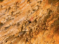 Rock Climbing Photo: Pulling through the crux for the onsight.