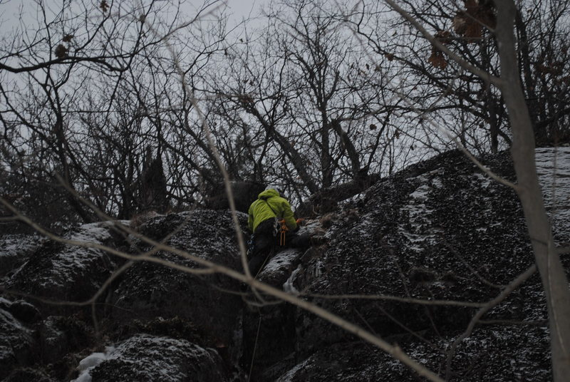 Rock Climbing Photo: Finishing on the parallel cracks at the top on the...