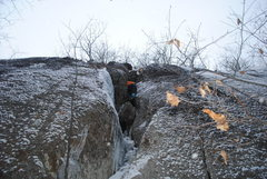 Rock Climbing Photo: Following on the FA, just above the overhanging se...