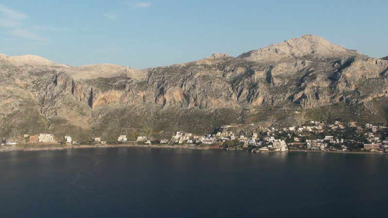 Rock Climbing Photo: View of Massouri from Telendos.  Most climbers sta...