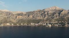Rock Climbing Photo: View of Massouri from Telendos.  Most climbers sta...