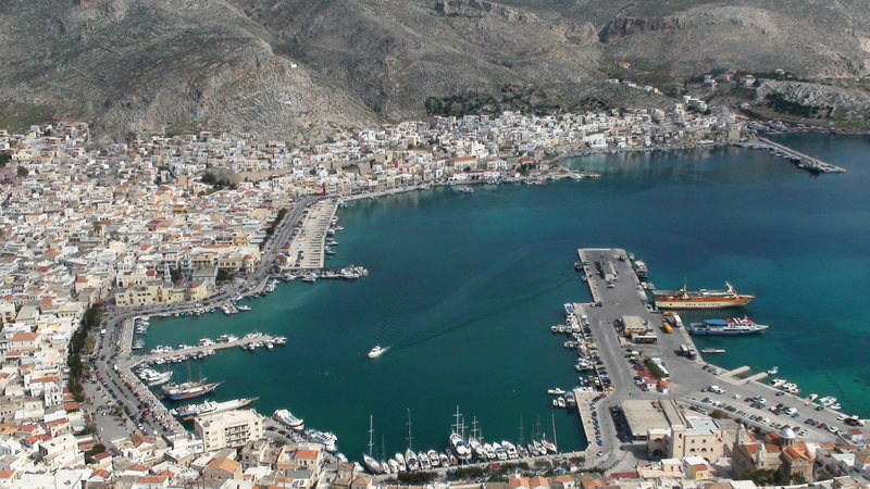 Pothia, the main port town on Kalymnos.