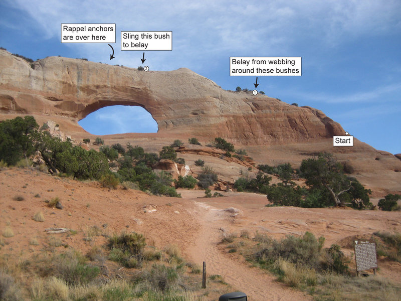 Rock Climbing Photo: Wilson Arch topo. A 70 m rope is needed to climb i...