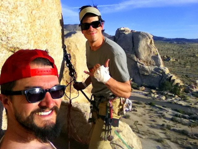 """At the """"bathtub"""" belay atop Double Cross"""