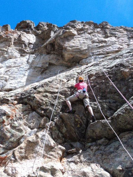 Rock Climbing Photo: Dave climbs between the fixed ropes on the project...
