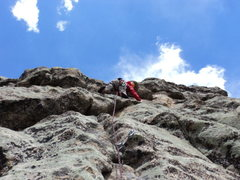 Rock Climbing Photo: Dave continues up P2, which feels significantly ha...