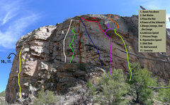 Rock Climbing Photo: The lay of the land. 10 and 11 are just around and...
