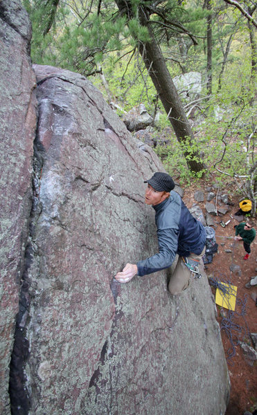 Rock Climbing Photo: Josh eyeing the next hold and opportunity to plug ...
