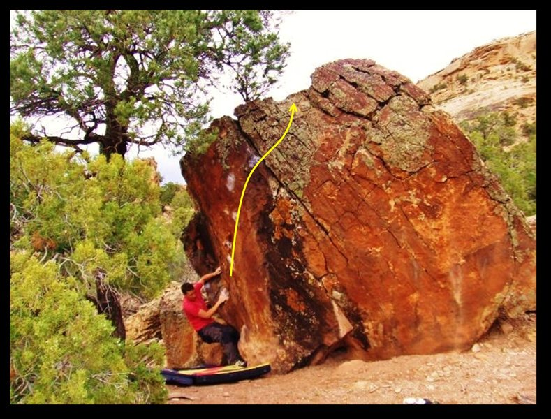 Rock Climbing Photo: Out of Doors problem on the Western Rust Boulder.