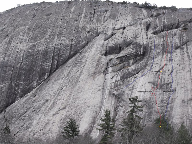 Rock Climbing Photo: High & Dry is in red with adjacent lines in blue.