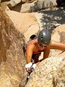 Rock Climbing Photo: Joan Bertini Leading Hands Off