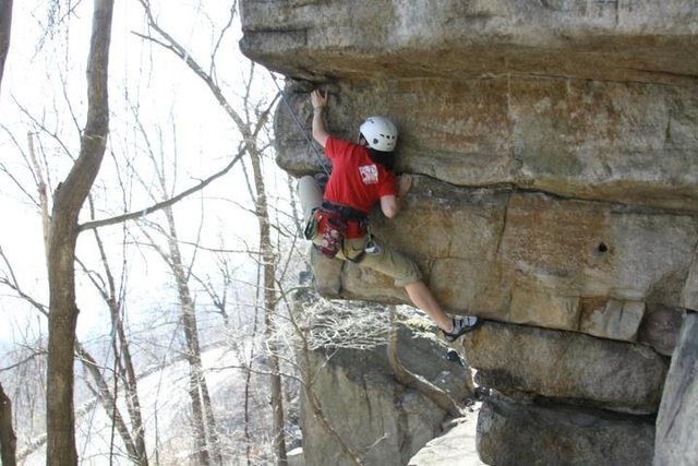 Jasmine cruising the crux of Lower Eaves, Gunks 3/18/2012