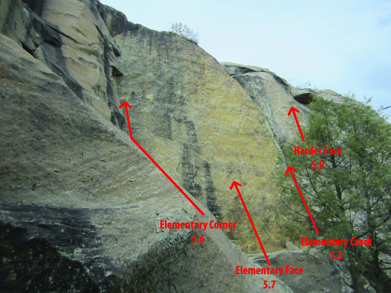 Rock Climbing Photo: Shows Elementary Corner 5.6, Elementary Face 5.7, ...