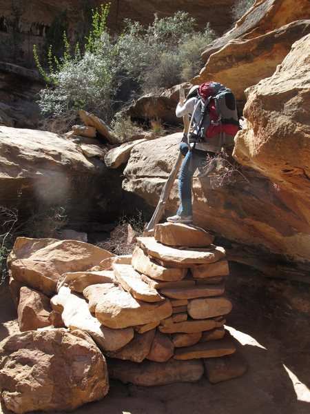 Hiking in the Maze District of Canyonlands. <br> <br> To get to our campsite at The Dollhouse, it was the roughest 4WD road I have ever been on. Pretty nerve- wracking.<br> <br> 2011
