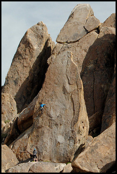 Climber on The Hermit, Pillar of Thoth.<br> Photo by Blitzo.