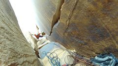 Rock Climbing Photo: Looking down from the Shangri La belay at Pitch 1
