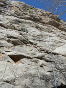 Rock Climbing Photo: Bolt and route location.  Vertical rope shows loca...