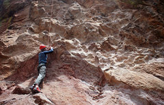 Rock Climbing Photo: Climber at the start of Tracks are for Kids on Din...