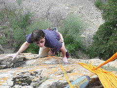 Rock Climbing Photo: Me on second of the first pitch, just about to top...