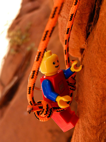 Rock Climbing Photo: Mr. Lego Guy working a route.