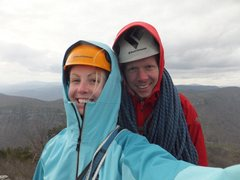 Rock Climbing Photo: Alyssa and I at Table Rock in Linville Gorge
