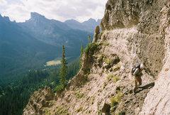 Rock Climbing Photo: Above some 5th class sketch.  John photo.