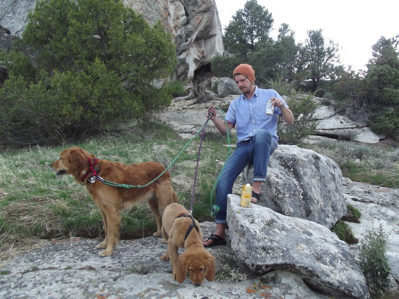 Rock Climbing Photo: Evening PBR and box wine with the dogs enjoying th...