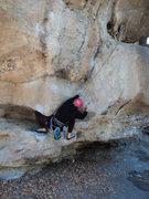 Rock Climbing Photo: Deb uses a knee/thigh bar to keep from barndooring...