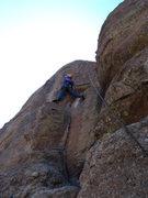 Rock Climbing Photo: Dave reaches the pocket/edge.