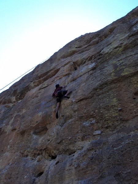 Jon climbs this difficult line so smoothly.
