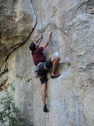 Rock Climbing Photo: Jon susses out the sequence for this variation.