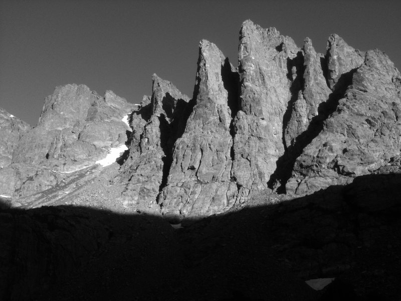 Cathedral peaks in the early morning light