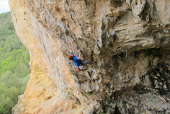 Rock Climbing Photo: Just before receiving a flapper and taking a whipp...