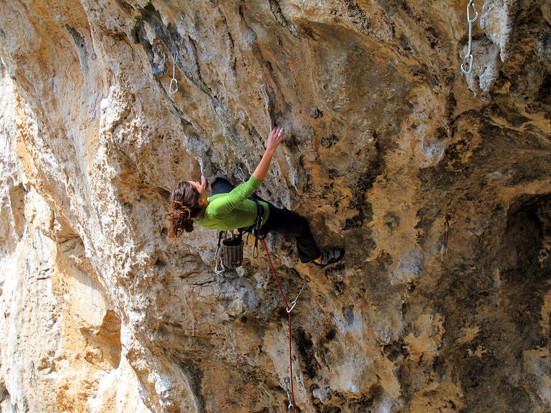 "Rock Climbing Photo: Steph using a kneebar that only works for ""ve..."