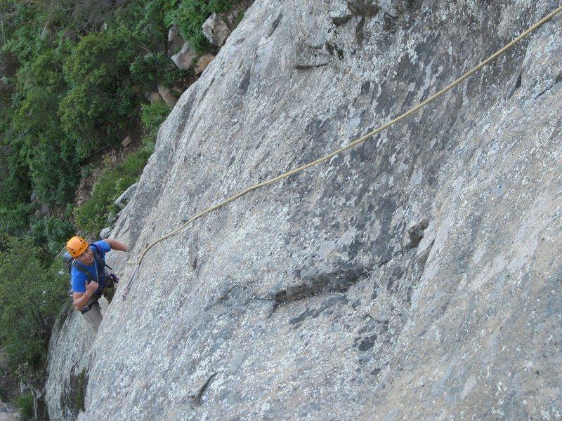 Rock Climbing Photo: Sam enjoying a nice slice of slab