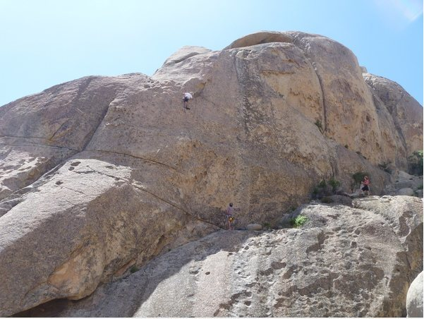 Rock Climbing Photo: nearing lieback move, 10-15 feet below anchor