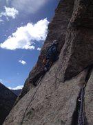 Rock Climbing Photo: P4. Kor's Flake. Left-moving traverse beta photo. ...