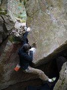 Rock Climbing Photo: Ian, first move.