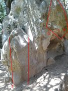 Rock Climbing Photo: Please help me identify these problems.  E - Unkno...