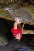 Rock Climbing Photo: Matt Giossi - sticking the crux throw