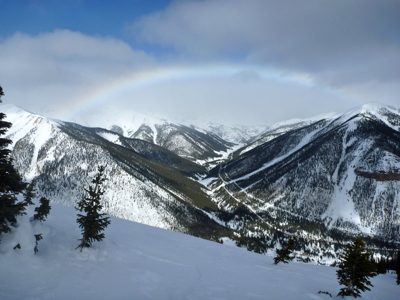 Winter rainbow over Red Mountain Pass