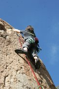 Rock Climbing Photo: Passed the crux, but still some tricky moves above...