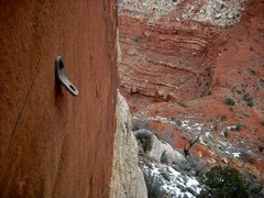 Rock Climbing Photo: Bolt on first pitch of first ascent route on NE fa...