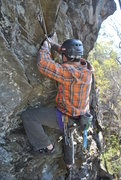 Rock Climbing Photo: Cleaning the route.