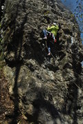 Rock Climbing Photo: Pulling the lower crux.